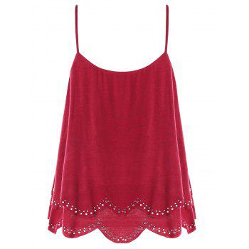 High Low Layered Cami Tank Top - WINE RED M