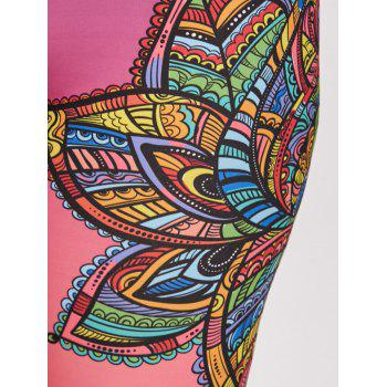 Mandala Floral Plus Size Sports Skinny Leggings - FLORAL 3XL