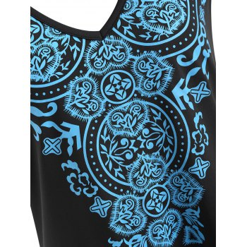 Plus Size Geometric Longline Tank Top - BLACK 4XL