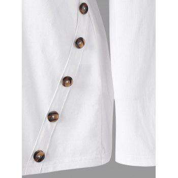 Button Elbow Patch Long Sleeve Top - WHITE L