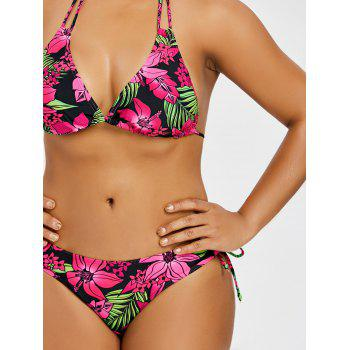 Tropical Flower Plus Size Bikini Set - ROSE RED 4XL