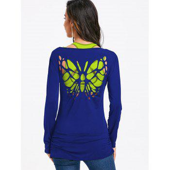 Butterfly Cut Out Back Long Sleeve T-shirt - BLUE S