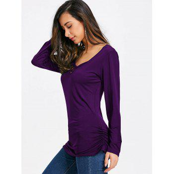 Butterfly Cut Out Back Long Sleeve T-shirt - DEEP PURPLE M