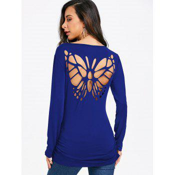 Butterfly Cut Out Back Long Sleeve T-shirt - BLUE M