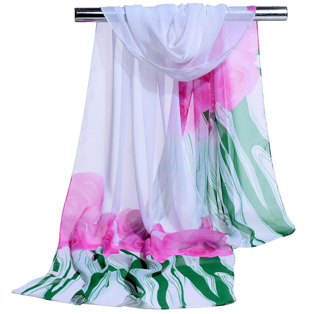 Soft Floral Pattern Chiffon Silky Spring Scarf - WHITE