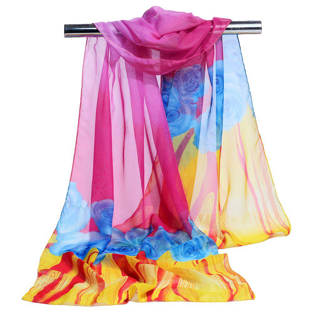 Soft Floral Pattern Chiffon Silky Spring Scarf - SANGRIA