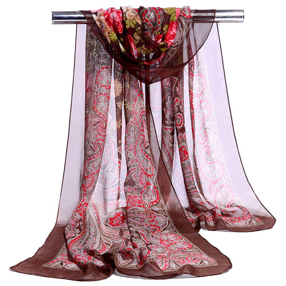 Blossoming Flowers Printed Silky Chiffon Scarf - CAPPUCCINO