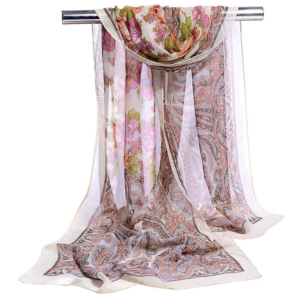Blossoming Flowers Printed Silky Chiffon Scarf - BEIGE