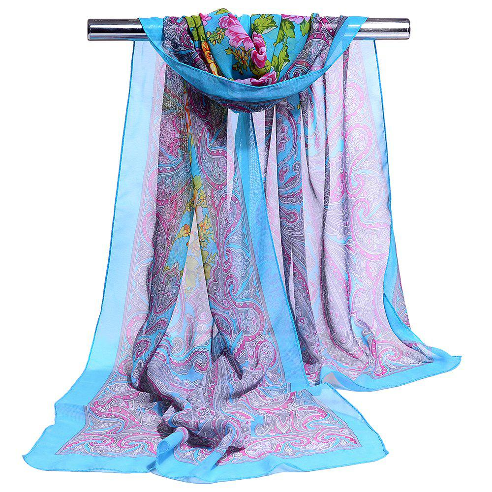 Blossoming Flowers Printed Silky Chiffon Scarf - LIGHT BLUE
