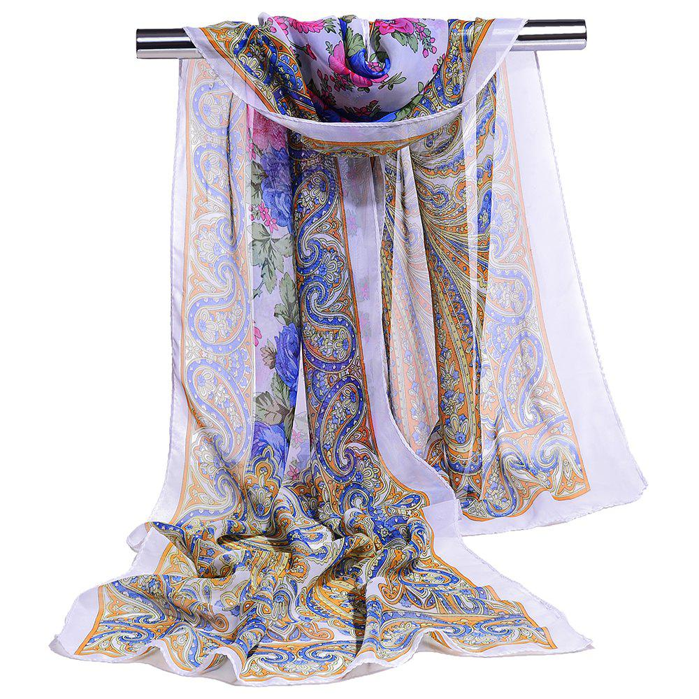 Blossoming Flowers Printed Silky Chiffon Scarf - AZURE