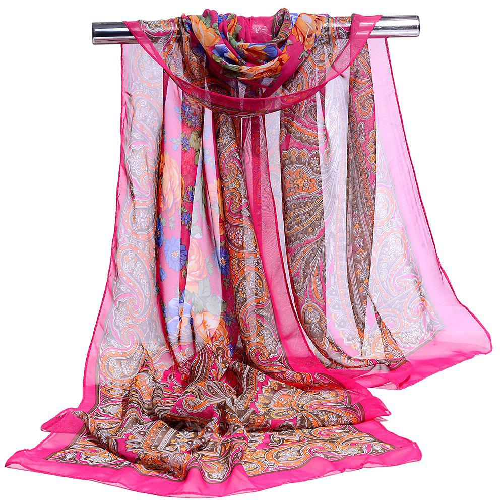 Blossoming Flowers Printed Silky Chiffon Scarf - SANGRIA