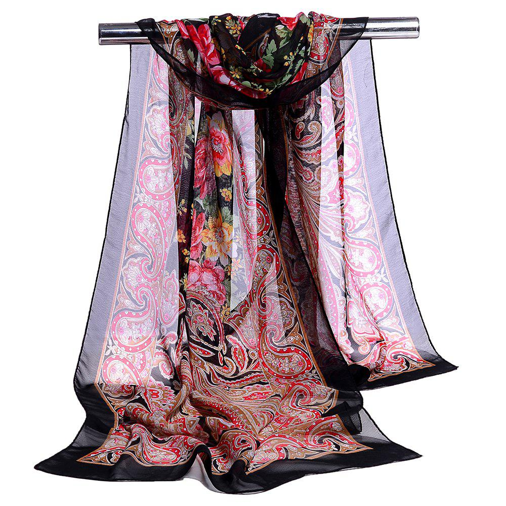 Blossoming Flowers Printed Silky Chiffon Scarf - BLACK
