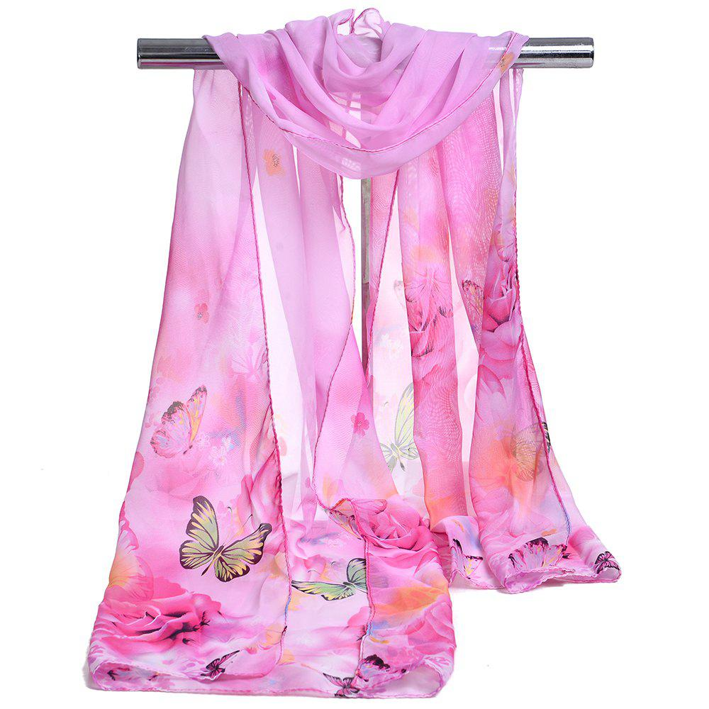 Pretty Flying Butterfly Pattern Embellished Spring Fall Scarf - PINK