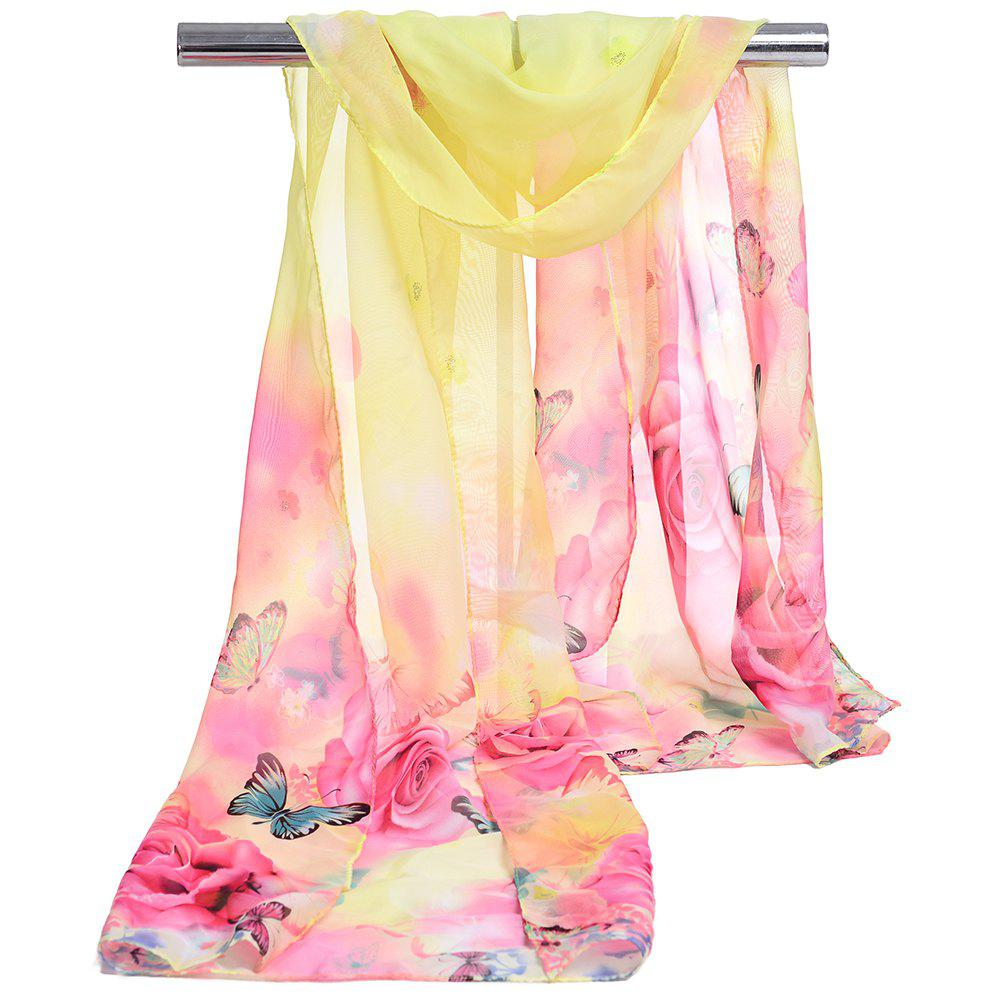 Pretty Flying Butterfly Pattern Embellished Spring Fall Scarf - YELLOW