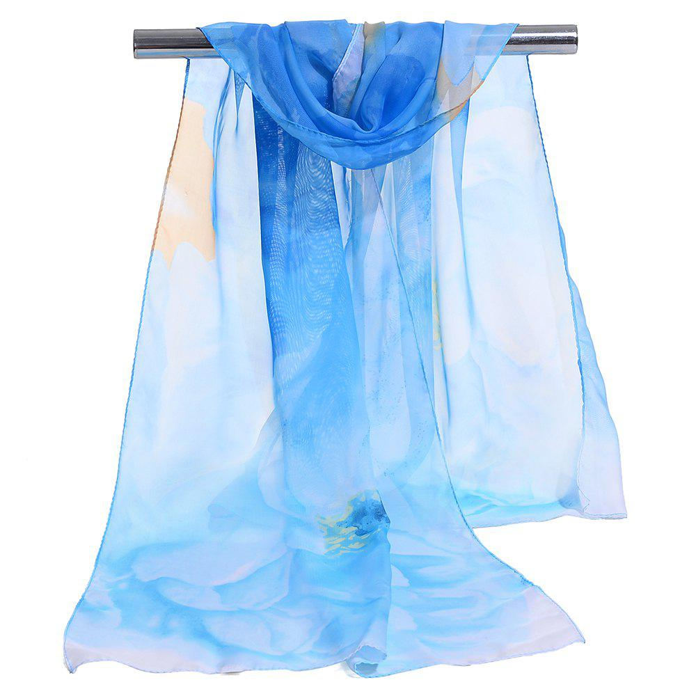 Vintage Floral Pattern Silky Chiffon Spring Fall Scarf - BLUE