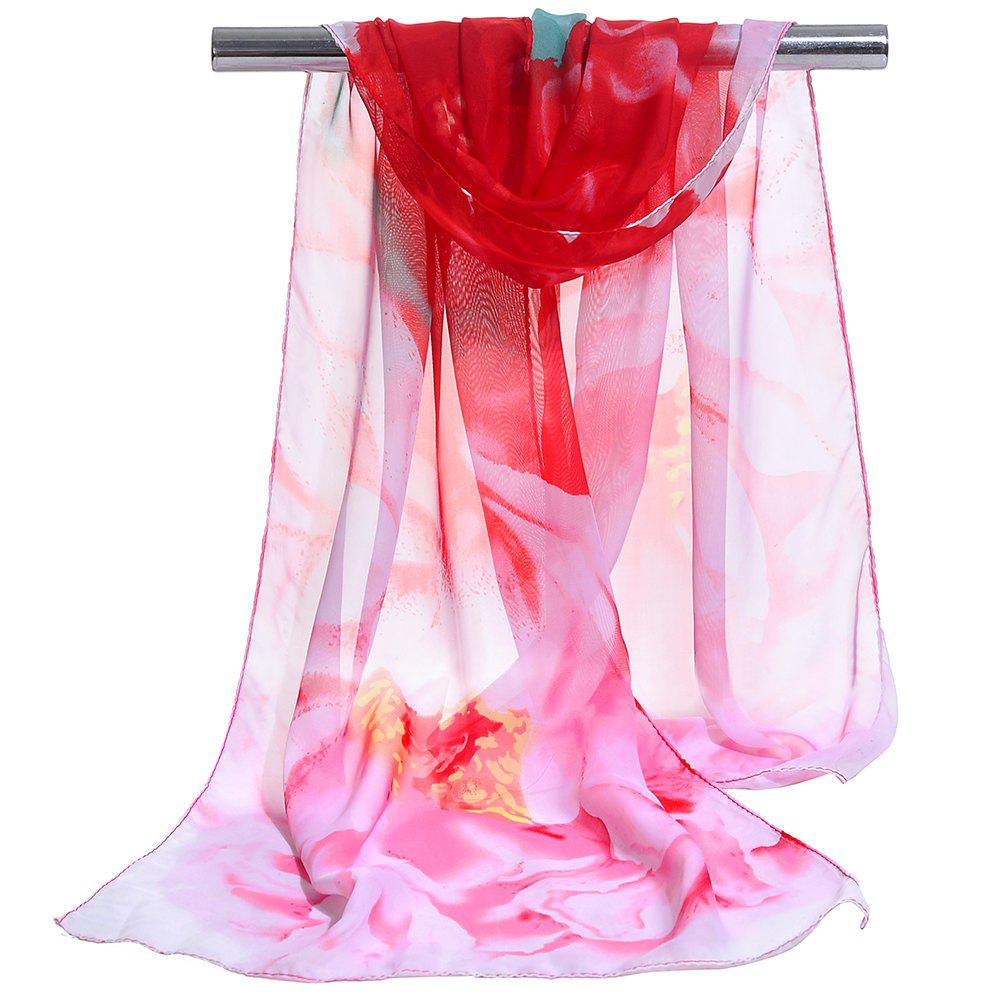 Vintage Floral Pattern Silky Chiffon Spring Fall Scarf - RED