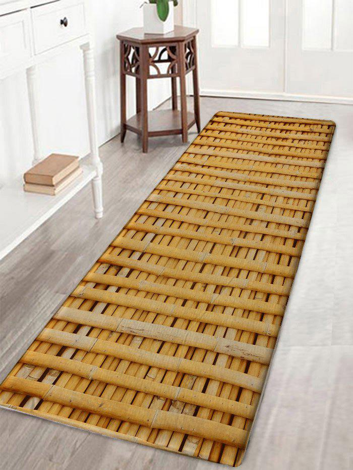 Bamboo Poles Pattern Skidproof Antislip Bath Mat - WOOD COLOR W16 INCH * L47 INCH