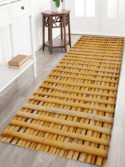 Bamboo Poles Pattern Skidproof Antislip Bath Mat - WOOD COLOR W24 INCH * L71 INCH