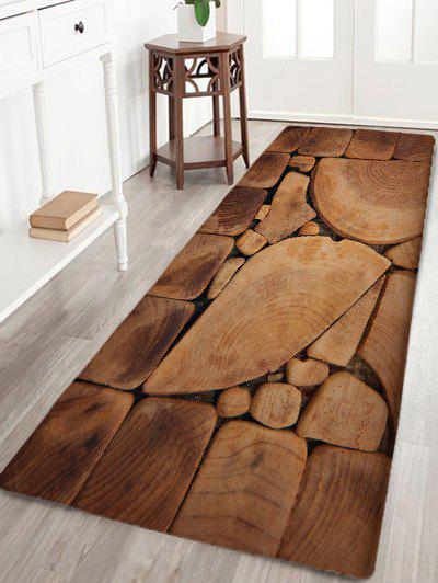 Irregular Wood Blocks Water Absorption Bath Mat - WOOD COLOR W24 INCH * L71 INCH