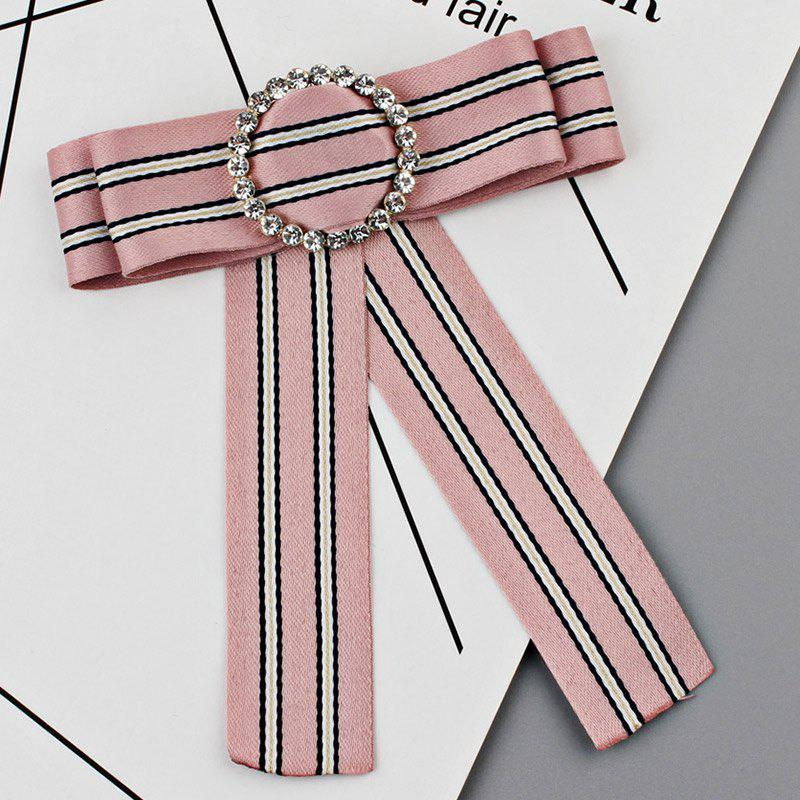 Striped Bowknot Shirt Tie Brooch - PINK