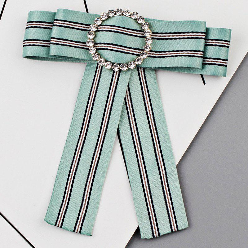 Striped Bowknot Shirt Tie Brooch - GREEN