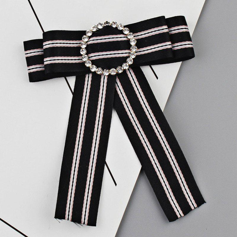 Striped Bowknot Shirt Tie Brooch - BLACK
