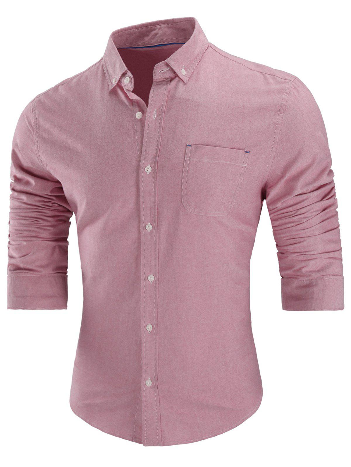 Long Sleeved Button Down Shirt - PINK XL