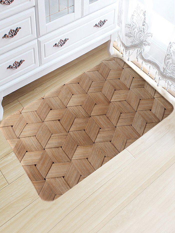 Basket Weave Pattern Skidproof Area Rug - WOOD COLOR W20 INCH * L31.5 INCH