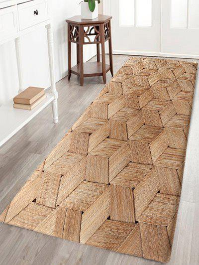 Basket Weave Pattern Skidproof Area Rug - WOOD COLOR W24 INCH * L71 INCH
