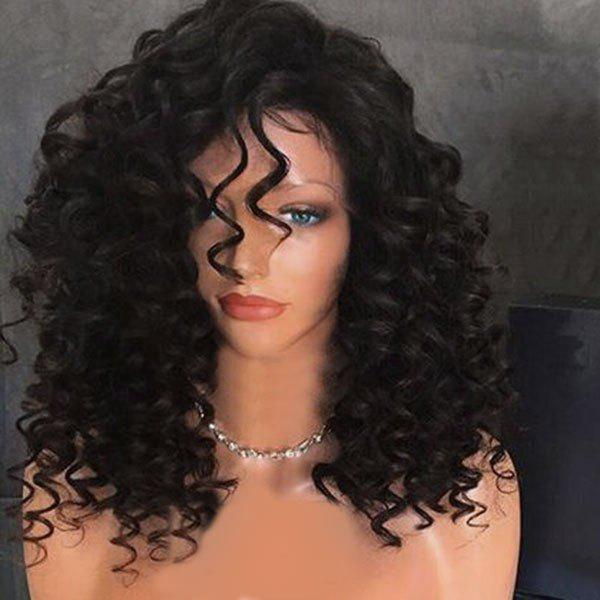 Long Side Fringe Fluffy Kinky Curly Synthetic Wig - NATURAL BLACK