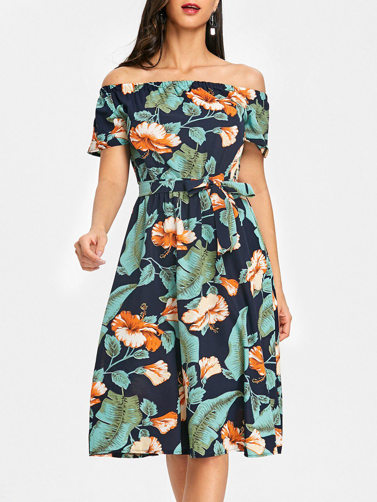 Off The Shoulder Floral Leaf Print Dress - GREEN XL