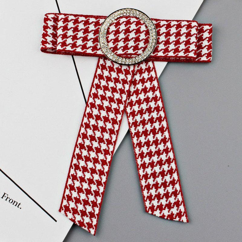 Round Faux Crystal Houndstooth Bowknot Necktie Brooch - RED