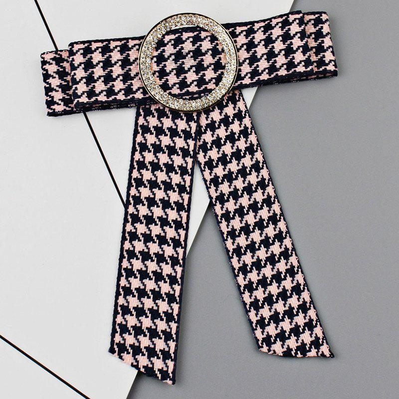 Round Faux Crystal Houndstooth Bowknot Necktie Brooch - PINK