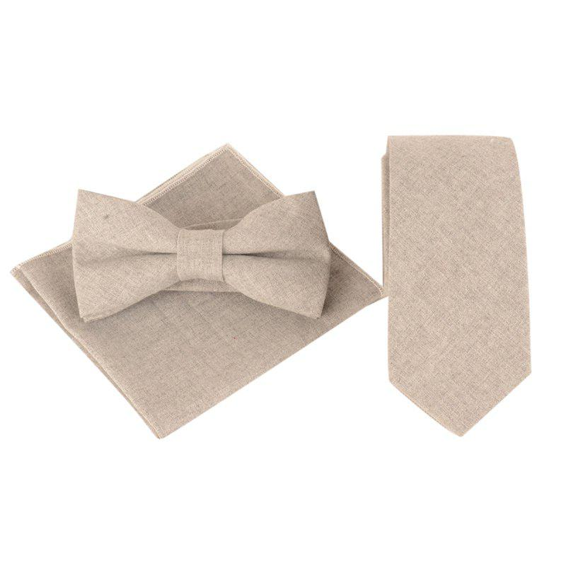Simple Solid Color Necktie Bow Tie Handkerchief Set - LIGHT GREY