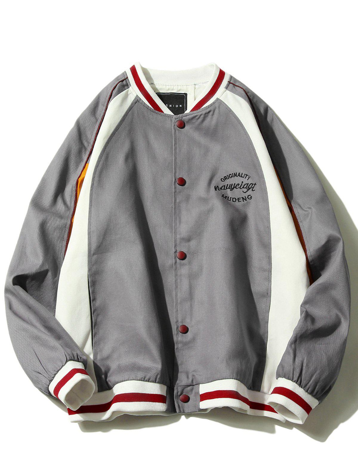 Colorblocked Embroidery Baseball Jacket - GRAY 3XL
