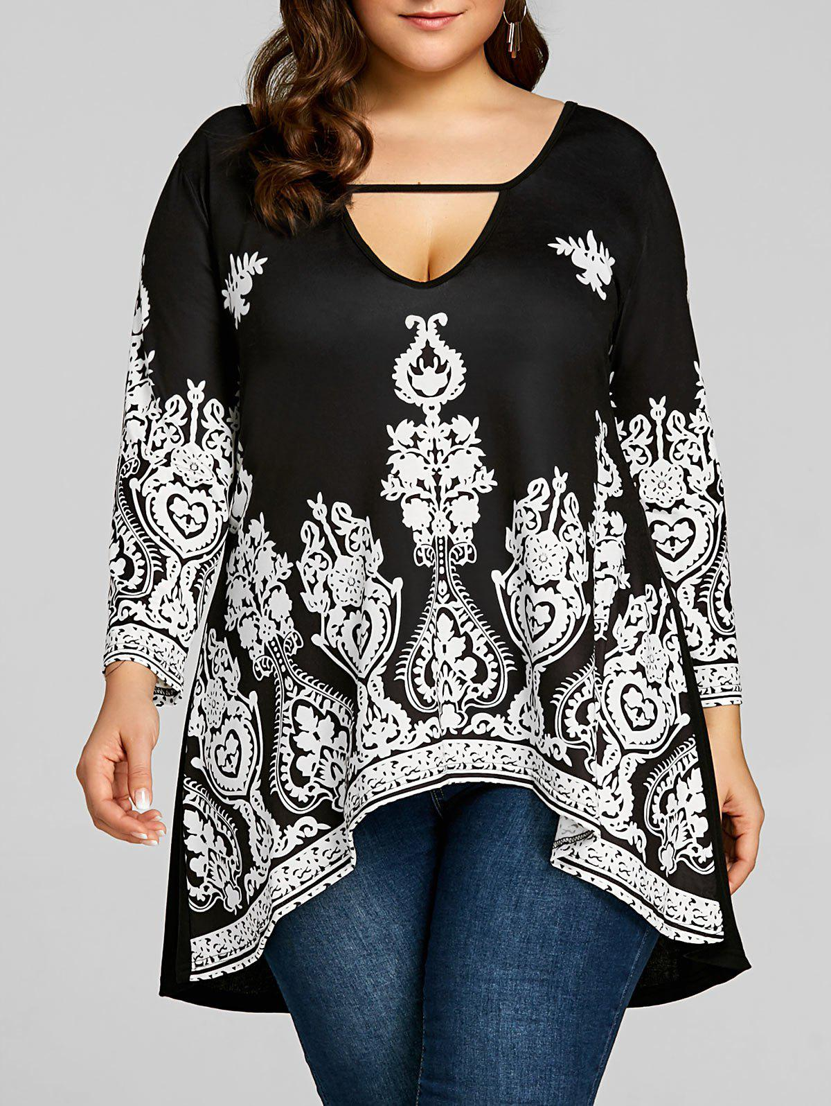 Plus Size Cut Out High Low Hem Tee светильник на штанге eglo navedo 93456