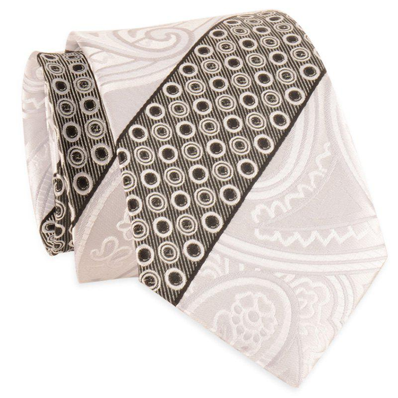 Simple Bevelled Striped Polka Dot Silky Necktie - WHITE