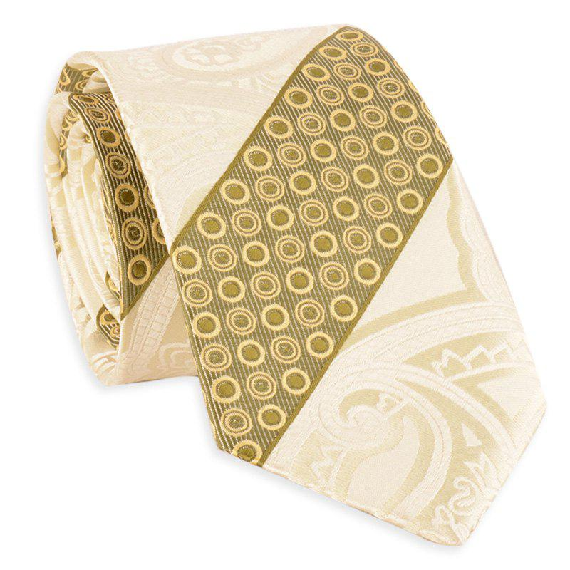 Simple Bevelled Striped Polka Dot Silky Necktie - LIMEADE