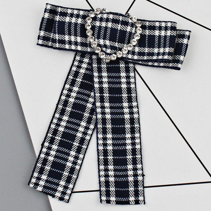 Heart Faux Crystal Plaid Bowknot Shirt Tie - BLUE