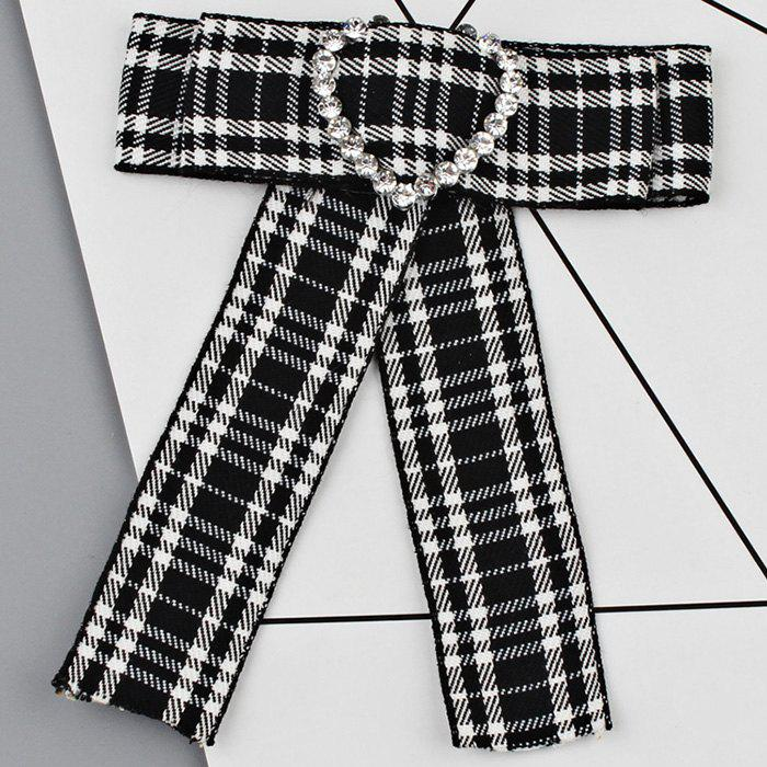Heart Faux Crystal Plaid Bowknot Shirt Tie - BLACK