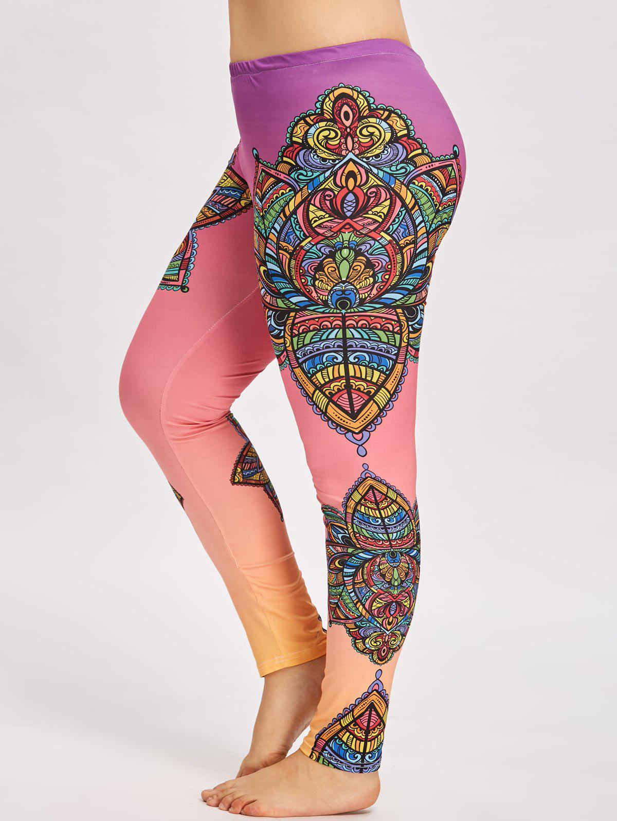 Mandala Floral Plus Size Sports Skinny Leggings - FLORAL 2XL