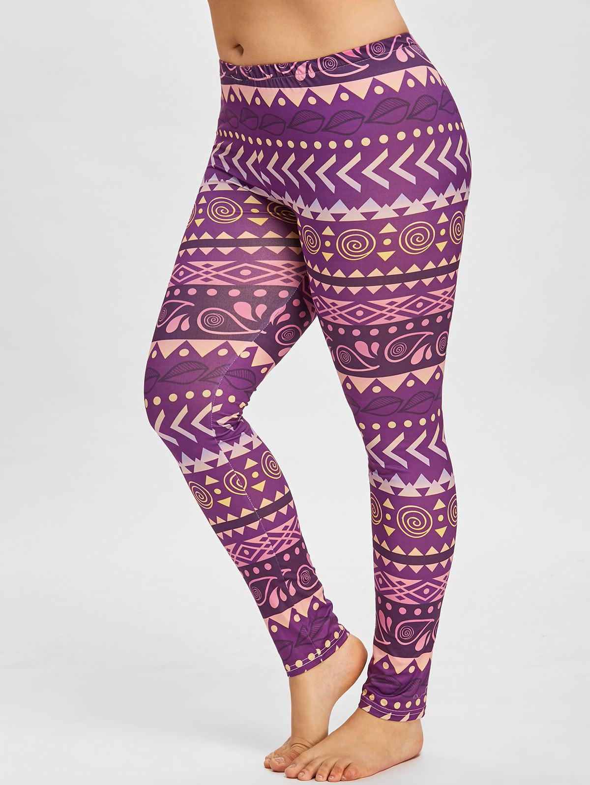 Geometric Pattern Plus Size Yoga Leggings - PURPLE 4XL
