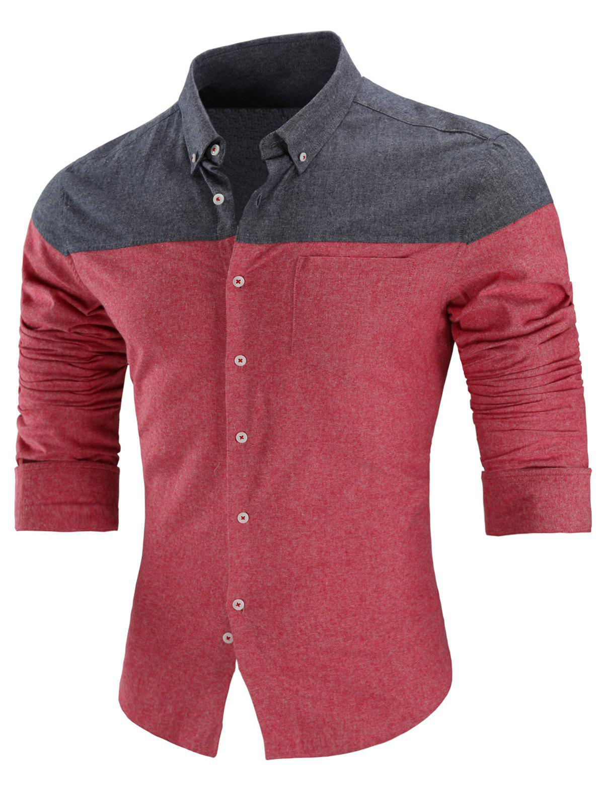 Two Tone Button Down Long Sleeve Shirt - RED L