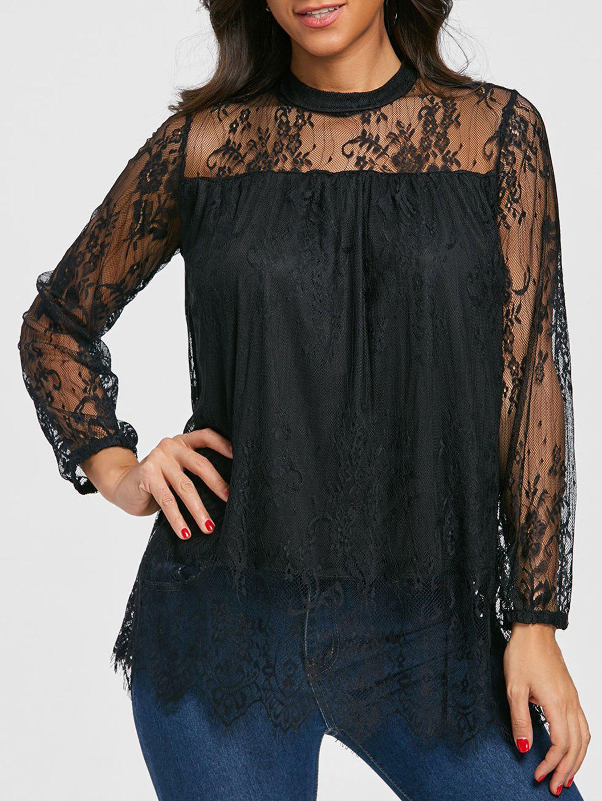 Mock Neck See Thru Lace Blouse - BLACK M
