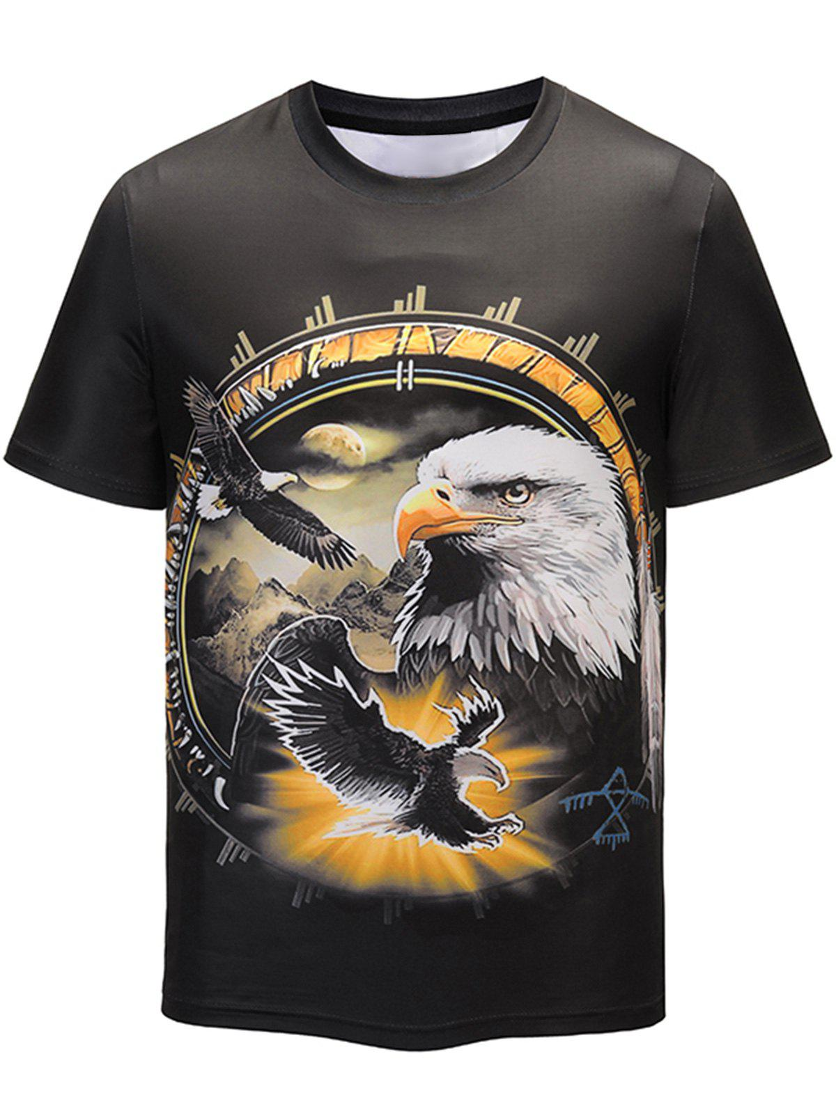 3D Eagle Print Crew Neck T-shirt