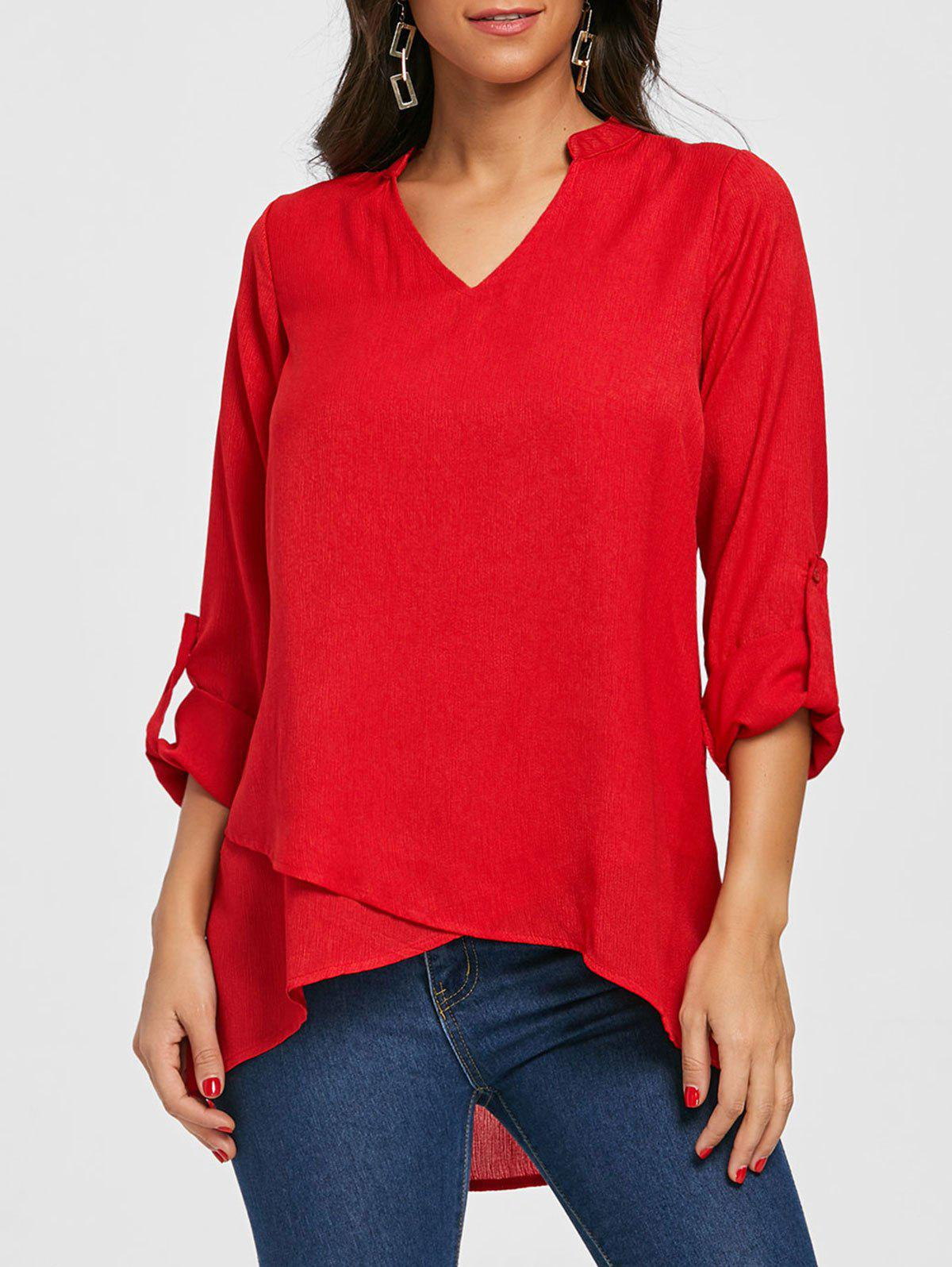 V Neck Asymmetric Tunic Blouse - RED XL