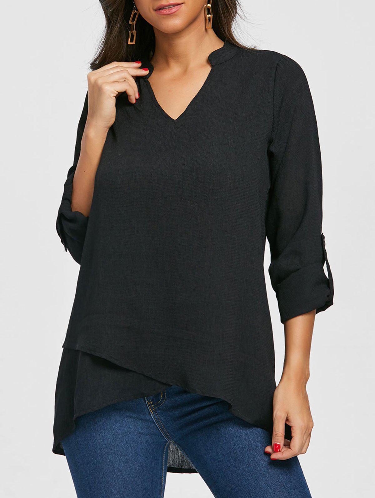 V Neck Asymmetric Tunic Blouse - BLACK M