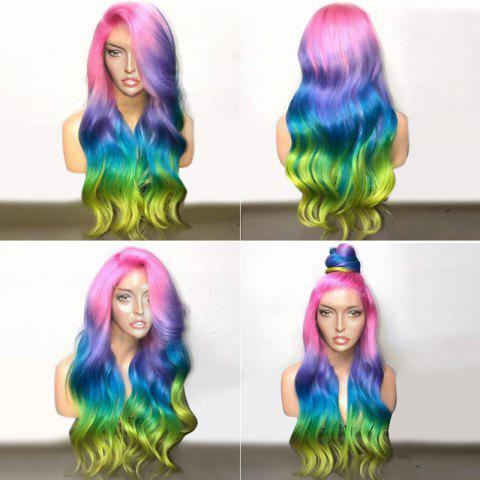Long Deep Side Parting Colorful Wavy Ombre Synthetic Party Wig - COLORFUL