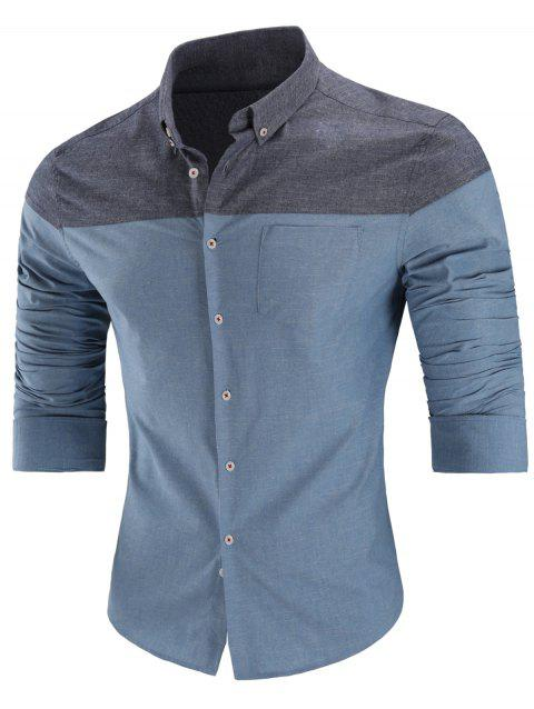 Two Tone Button Down Long Sleeve Shirt - BLUE 3XL