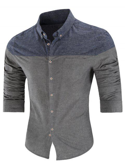 Two Tone Button Down Long Sleeve Shirt - GRAY 3XL